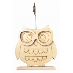 Wooden clip photo holder 75mm x 165mm x 33mm - Owl