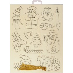 PK OF13 XMAS PRINTED SHAPES WITH THREAD