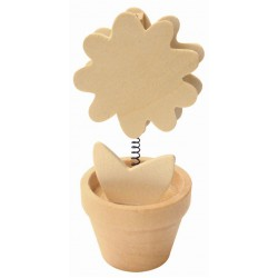 Memo clip wood 105mm x 55mm - Flower in pot