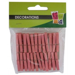 PK OF 24 PINK WOODEN PEGS 30mm