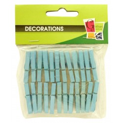 PK OF 24 BLUE WOODEN PEGS 30mm