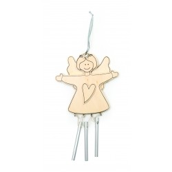 UNPAINTED WOOD XMAS WINDBELLANGEL 200X110X5CM