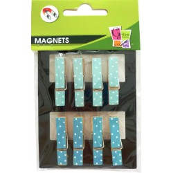 BLUE WOODEN PEGS W/WHITE DOTS (S/8)