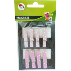 PINK WOODEN PEGS W/WHITE DOTS(S/8)