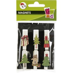 6 PEGS WITH ICONS XMAS SELECTION1 MAGNET 35MM