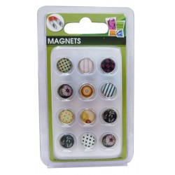 12 EPOXY MAGNETS BLACK AND PATTERN 10mm