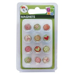 12 EPOXY MAGNETS HEART AND PATTERN 10mm