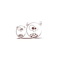 Wooden stamp - Pair of owls