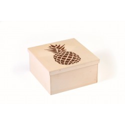 Cutting box in wood 150mm x 150mm x 75mm - Pineapple