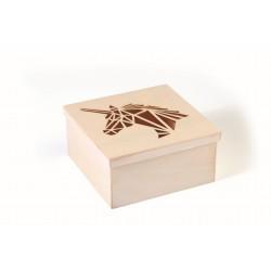 Cutting box in wood 150mm x 150mm x 75mm - Unicorn
