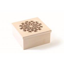 Cutting box in wood 150mm x 150mm x 75mm - Mandala hearts