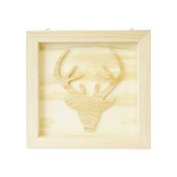 Board in woord 205mm x 205mm x 20mm - Reindeer