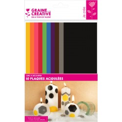 PACK OF 10 CUT-OUT WAX SHEETS  65X150MMX0.5MM - ACIDULOUS COLOR