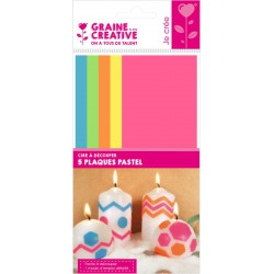 Cut-out wax sheets 65mm x 150mm x 0,5mm - Pastel colors (5 pcs)