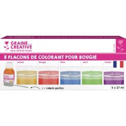 Kleurstof voor kaarsen 27ml - assort. kleuren (5 st)