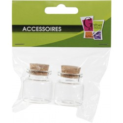 PACK OF 2 GLASS BOTTLES W/CORK No 3  /  30x30