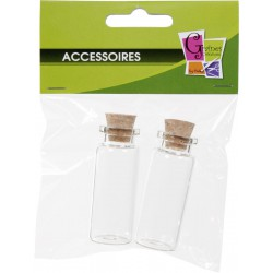 PACK OF 2 GLASS BOTTLE W/CORK No 5  :  21x55