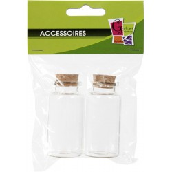 PACK OF 2 GLASS BOTTLE W/CORK No 6  /  35x59