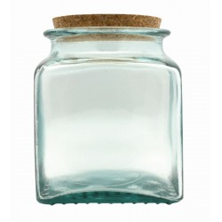 Glass pot square with cork stopper 1,1L - 140mm