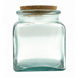 Glass pot square with cork stopper 500ml - 140mm