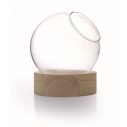 GLASS VASE WOOD BASE - H 15.5 - D 13 CM