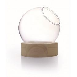 GLASS VASE WOOD BASE - H 11.5 - D 10 CM