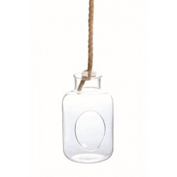 GLASS BOTTLE WITH ROPE D 14 H 25