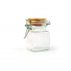 Glass jar with wooden lid square 53mm x 53mm