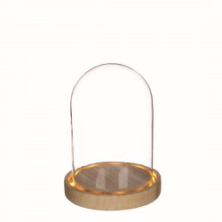 Glass bell with led light and wooded base Ø 125mm x 165mm