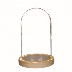 Glass bell with led light and wooded base Ø 140mm x 215mm