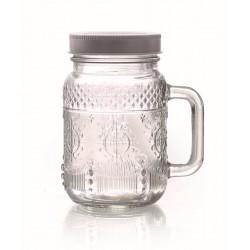 ARABESQUE GLASS JAR WITH HANDLES - 370ML