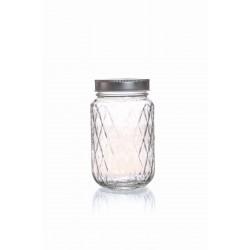 DIAMOND GLASS JAR - 375 ML