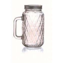 DIAMOND GLASS JAR WITH HANDLES - 490 ML