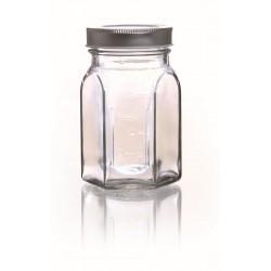HEXAGONAL GLASS JAR- 240 ML