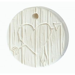 1  HEART ENGRAVED ON WOOD PLASTER CAST
