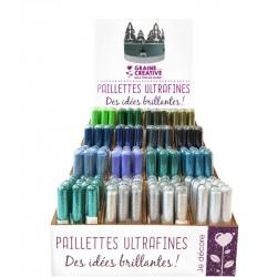 Display ultra fine glitter 3g - Green & blue (192 pcs)