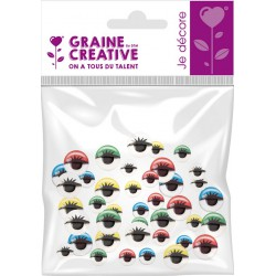Wiggle eyes with lashes - Assort. colors (40 pcs)
