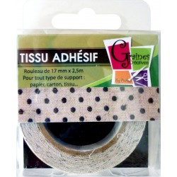 LINEN ADHESIVE TAPE BLACK DOTS 15mmx2.5m