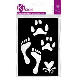 Adhesive stencil 70mm x 100mm - Foot prints
