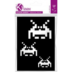 Adhesive stencil 70mm x 100mm - Space invaders