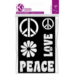 PEACE AND LOVE ADHESIVE STENCIL 120x180