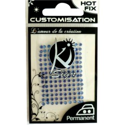HOT FIX RHINESTONES 5MM - BLUE CARD OF 93