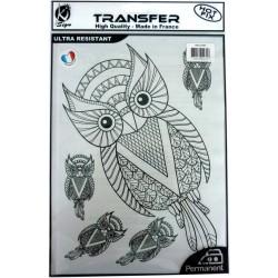 BLACK IRON ON TRANSFER A4 CHOUETTES NOIR A4