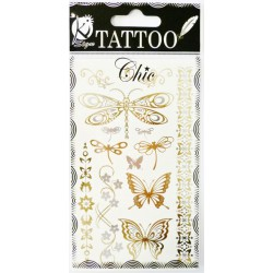TATOO CHIC BUTTERFLIES GOLD 95x155mm