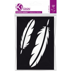 Adhesive stencil 70mm x 100mm - Feathers