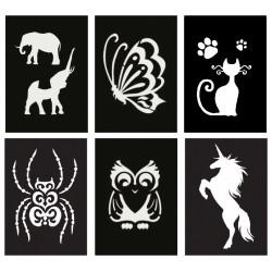 Adhesive stencil mini 70mm x 100mm - Animals (6 pcs)