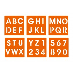 Stencil - Alphabet and numbers (6 pcs)