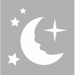 Mini stencil 8cm x 8cm - Moon and stars