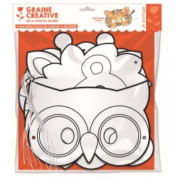PACK OF 6 MASKS : ANIMALS   CARTON TO BE DECORATE