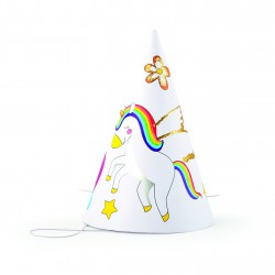 Set of cardboard party hats to decorate - Unicorn (6 pcs)
